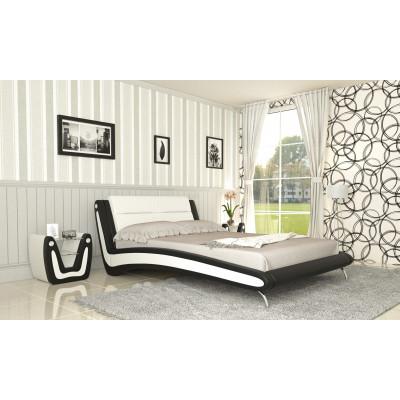 """Кровать с мягким изголовьем """"Белла-1"""" черно-белая"""