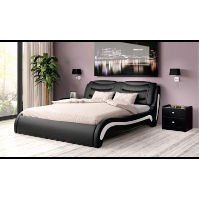 """Кровать с мягким изголовьем """"Скарлетт"""" черная"""