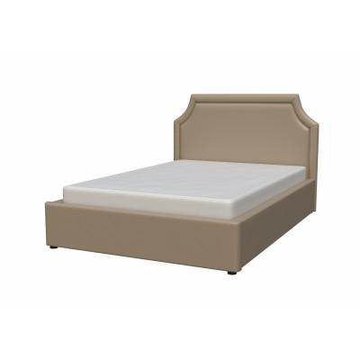 """Кровать с мягким изголовьем """"Беатрис"""" из экокожи бежевая"""