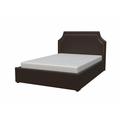"""Кровать с мягким изголовьем """"Беатрис"""" из экокожи шоколад от производителя Браво Мебель"""