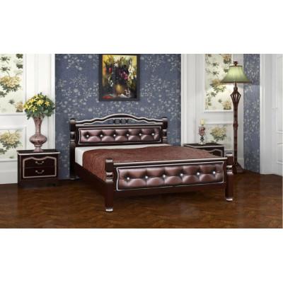 """Кровать """"Карина-11"""" (с элементами экокожи) орех темный бриллиант"""