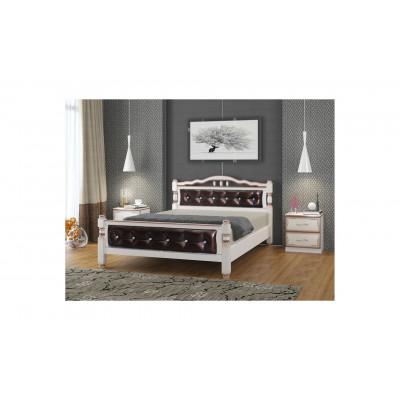 """Кровать """"Карина-11"""" дуб молочный, темная экокожа от производителя Браво Мебель"""