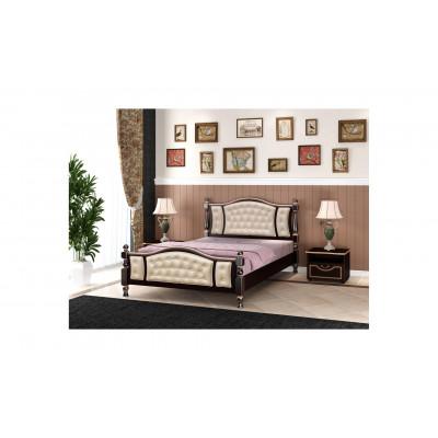 """Кровать """"Жасмин"""" орех темный, светлая экокожа"""