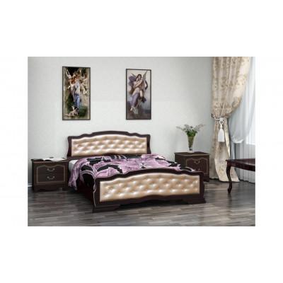 """Кровать """"Карина-10"""" (с элементами экокожи светлого оттенка) орех темный"""