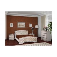 """Кровать """"Карина-10"""" дуб молочный, светлая экокожа"""