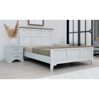 """Кровать """"Грация-5"""" античный белый карниз сосна от производителя Браво Мебель"""