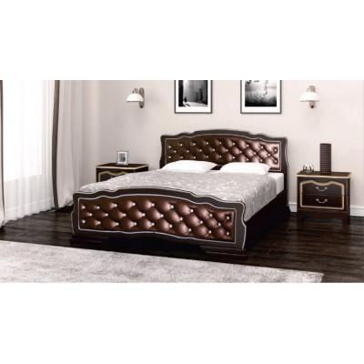 """Кровать """"Карина-10"""" (с элементами экокожи темного оттенка) орех темный"""