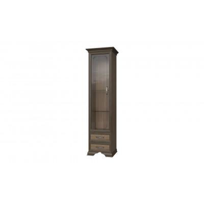 Шкаф лакированный Грация дуб коньяк витрина 1 стекло от производителя Браво Мебель