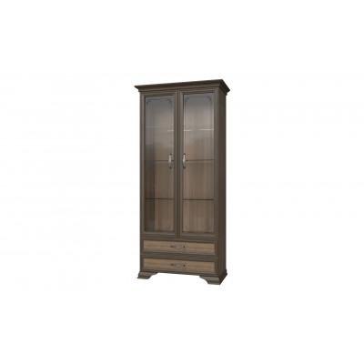 Шкаф лакированный Грация дуб коньяк витрина 2 стекла от производителя Браво Мебель